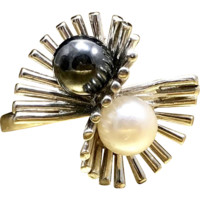 1960s Vintage Mid Century Minimalist Ring Created Artisan Hubertus Von Skal Featuring Black and White Genuine Cultured Pearls Crafted in 10 Karat White Gold Currently a Size 8