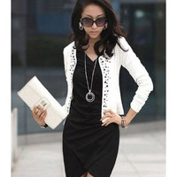 Long Sleeve Women Spring Korean Style White Cotton Short Coat M/L/XL @WH0396w $11.99 only in eFexcity.com.