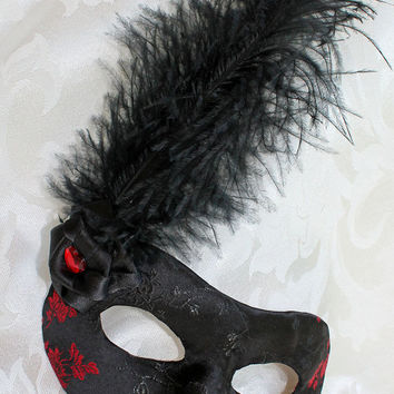 Black and Red Rose Satin Brocade and Leather Eye Mask Masquerade Ball Mask