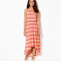 AE STRIPED CINCHED HI-LO MAXI DRESS