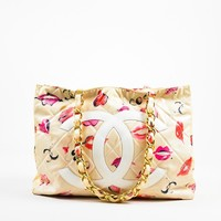Chanel Cream Quilted Lip Print 'CC' Stitched Gold Hardware Chain Bag