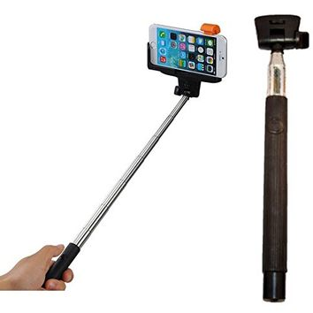 GO EZ Selfie Stick, model Z07-5 - Wireless Mobile Phone Monopod, with Wireless Built-in Bluetooth for iOS 4.0 or higher and Android 3.0 or higher, with Adjustable Grip Holder (Black)