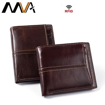Men Wallets with Coin Pocket Zipper Genuine Leather Wallets Small Coin Purse Mens Leather Purses Photo Card Holder