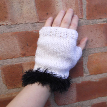 Silver white fingerless gloves with black faux fur trim - one size - OOAK
