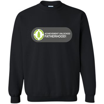 Achievement Unlocked Fatherhood Funny New Dad Gamer T-Shirt