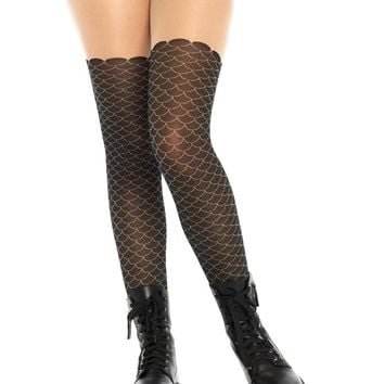 Black/Nude Mermaid Scale Opaque Tights