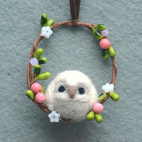 Needle felted owl on wreath ornament, handmade owl ornament / charm, Christmas tree ornament, handbag charm, gift under 20
