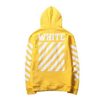 auguau Off White Hoodie Virgil Abloh Fashion Stripe Unisex F/W Sweater Pullover S-XL