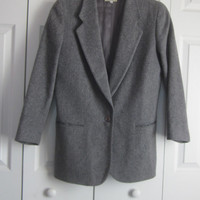 Vintage LL Bean Wool Jacket, Grey Blazer, Cashmere Wool Blend, Ladies Womens Size 12, Grey Wool Jacket, Made in USA, Preppy Jacket,