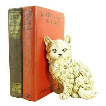 1983 Ceramic Bookshelf Kitty Cat - Wtf Home Decor