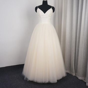 Simple Tulle Wedding Dress with Lace Jacket Two Way Bridal Gown