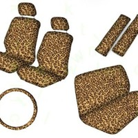BDK Quality Pro Seat Covers - Leopard Print Auto Seat Covers Full Set Universal Fit (Beige)