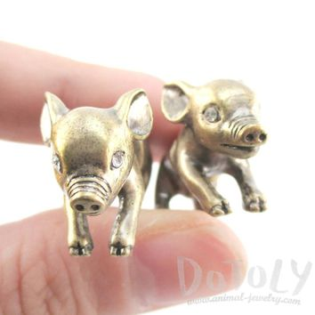 Fake Gauge Earrings: 3D Piglet Pig Shaped Front and Back Two Part Earrings in Brass
