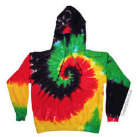 Rasta Spiral Tie Dye Hoodie on sale for $38.95 at Hippie Shop
