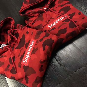 Supreme Trending Camouflage Letter Embroidered Velvet Hoodie Sweater Couple Pullover Top I-CN-CFPFGYS