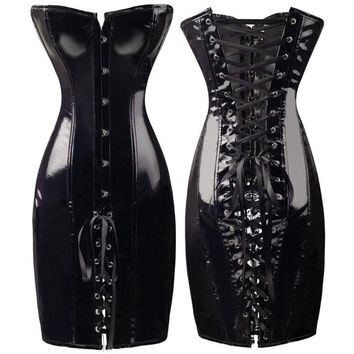 New Sexy Steampunk Corset Dress Clubwear Wetlook Vinyl PVC Dress Gothic Night Club DS Faux Leather Dresses Black Red Women XXL