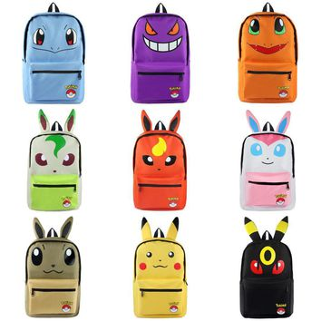 Less Is More: Anime Pocket Monster Pikachu Eevee Umbreon Canvas Solid Color Laptop Backpack/Double-Shoulder School Bag