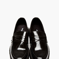 BLACK PATENT LEATHER PLATFORM LOAFERS