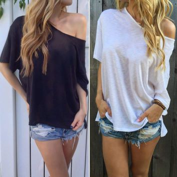 Women Loose Casual Off Shoulder Cotton Shirt Blouse Top