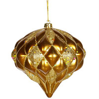 Christmas Ornament - Gold Onion With Diamond Design