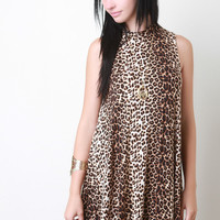 Leopard Mock Neck Sleeveless Dress