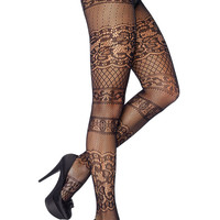 Striped Cut Out Lace Pantyhose in Black