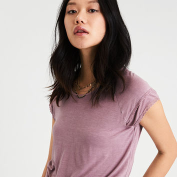 AE Soft & Sexy Lace Trim Raglan T-Shirt, Burgundy