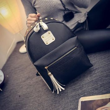 Stylish Back To School On Sale College Hot Deal Comfort Korean Fashion Simple Design Tassels Casual Backpack [6582315015]