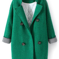 ROMWE Double-breasted Band Collar Green Coat