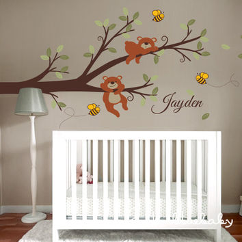Branch, Bears, Bees and Custom Name Wall Decal - Nursery Wall Decor