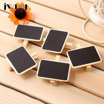 1 pcs JWHCJ Mini chalkboard Wooden Clip DIY Photo Paper Clips with Hemp Rope Craft Photo Hanging Spring message card memo clip