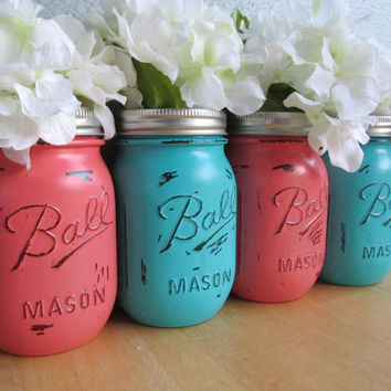 Painted and Distressed Ball Mason Jars- Coral and Medium Turquoise-Set of 4-Flower Vases, Rustic Wedding, Centerpieces