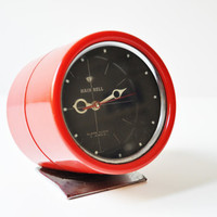 Vintage Space Age Hein Bell Red Alarm Clock - Made in Korea