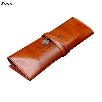 2017 New Vintage Style Rollup Pencil Case PU leather retro comestic make up brush bag holder pocket on sale