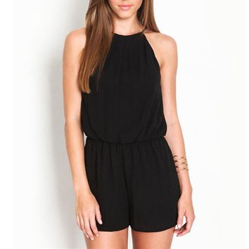 Zanzea Solid Rompers Womens 2018 Summer Hollow Out Sexy Sleeveless Playsuits Halter Keyhole Back Chiffon Overalls Plus Size