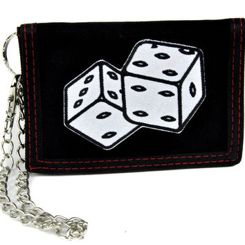 Roll of the Lucky Dice Tri-fold Wallet with Chain Alternative Clothing