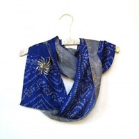 Silk sari scarf blue gray batik upcycled India with sequins starburst | Patchtique - Accessories on ArtFire