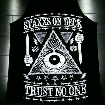 TRUST NO ONE TANK BLACK $22