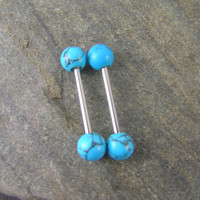 "Matrix Turquoise Nipple Barbell Bars 14 gauge 1.6mm Piercing Jewelry 1/2"" 12mm, 5/8"" 16mm Tongue Conch Cartilage"