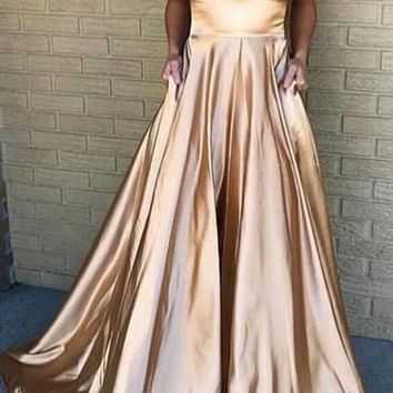 Spaghetti Strap A Line Simple Cheap Long Bridesmaid Prom Dresses J1540