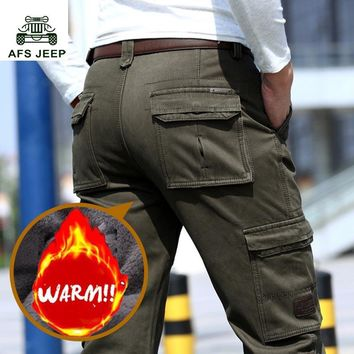 New Brand Winter Fleece Warm Cargo Pants Men Straight Loose Baggy Thick Trousers Male Casual Military Pants Bottoms