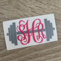 Barbell weight lifting monogram decal for car, laptop, cup, cell phone, Yeti, iphone, notebook, tumbler, boots, rambler, cooler