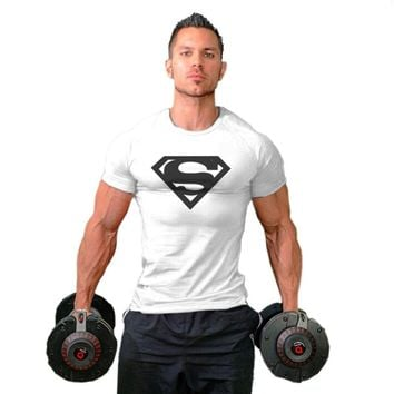New Superman T shirt Men Bodybuilding Fitness Man Male Muscle Training Gym Running Jogging Sports Singlets Shirts Clothes Tops