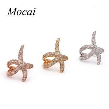 Newest Design Ring Gold-color Starfish Rings For Women Centrosymmetric Channel Setting Sea Star Ring Jewelry CZ Gift ZK33