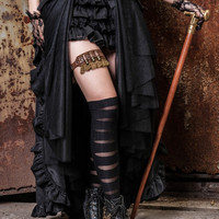 Gothic Steampunk Bustle Long Cap Skirt