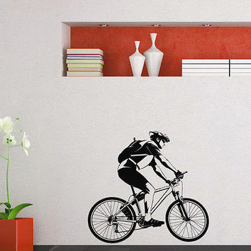 WALL DECAL VINYL STICKER SPORT BOY CYCLING BICYCLE DECOR SB709