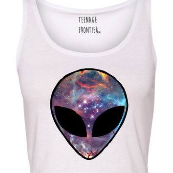 Galaxy Alien Head Tank CROP TOP