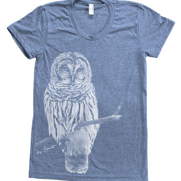Owl Shirt Women Custom Hand Screen Printed on American Apparel Tri-Blend Short Sleeve Tshirt Available: S, M, L, XL