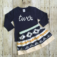 2PCS Baby Set !!Toddler Kids Baby Girl Clothes Short Sleeve Letter T-shirt+Print Dress Baby Girl Dress Baby Outfit Clothes Set