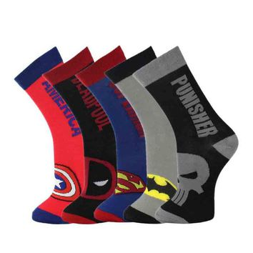 Lionzone 5Pairs/lot Super Heroes Series Neutral Socks Deadpool Punisher Capain America Superman Batman Men&Women Cotton Socks